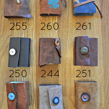 Pocket Journals 2.5x3.5 leather journal hand bound blank book with handmade paper pages