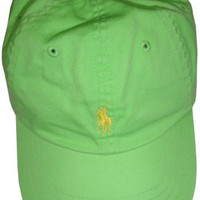 Polo by Ralph Lauren Men's Hat Ball Cap Neon Green with Yellow Pony