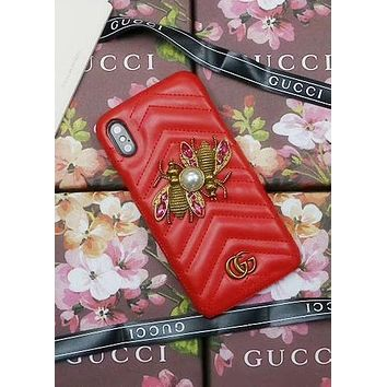 GUCCI Tide brand luxury pearl bee leather hard shell iPhone X phone case Red
