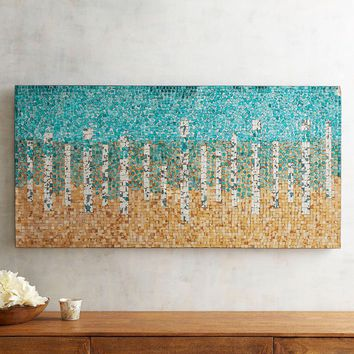 Teal and Gold Mirrored Mosaic Glass Wall Art Panel