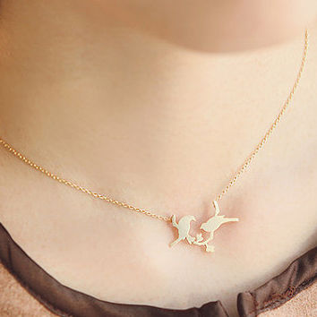 Two Birds on a Bridge Necklace, Birds Necklace, Brass Necklace, Girls Jewelry, Korean Fashion