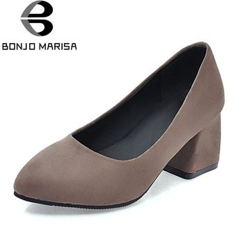 BONJOMARISA Women's Chunky Med Heel Pointed Toe Slip On Shoes Woman Office Casual Dress Spring Pumps Big Size 34-43