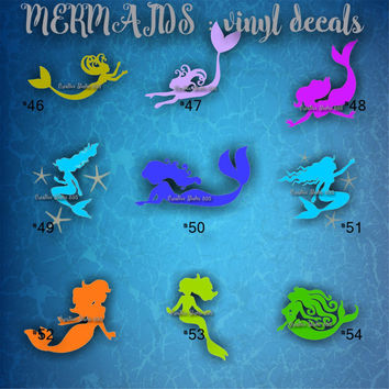 MERMAID vinyl decal | water bottle decal | car decal | car stickers | laptop sticker - 46-54