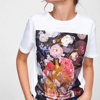 PRINTED T-SHIRT WITH APPLIQUÉ DETAILS