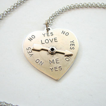 love spinner necklace yes or no moving jewelry by friendlygesture