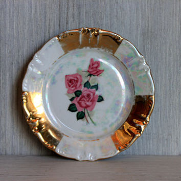 shabby chic plate // antique plate // roses gold pearly iridescent // bavaria