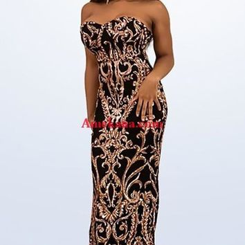 Emotions Sequin Strapless Black Maxi Dress(Ready to ship)