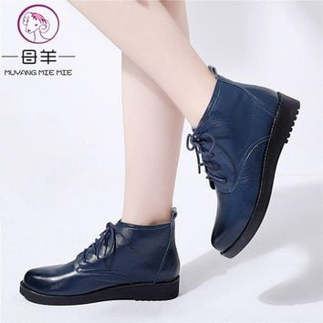 MUYANG Plus Size 34-44 Ankle Boots For Women Autumn Winter Shoes Woman Genuine Leather Warm Platform Flat Boots Women Boots