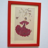 """Unique picture from pressed flowers """"Rhythm"""" - Pressed flowers art - Unique gift - Art collage - Home decor wall art - Framed picture."""