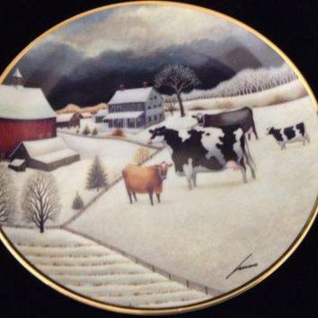 Lowell Herrero Cows in Winter Plate