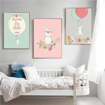 Cartoon Animal Rabbit Bunny Wall Art Canvas Painting Nursery Poster Print Nordic Kids Decoration Pictures Baby Living Room Decor
