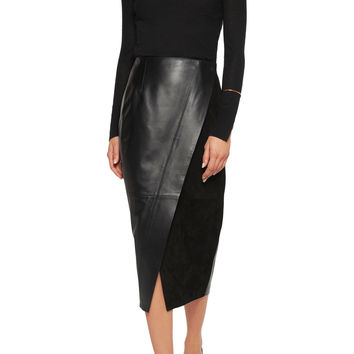 Suede-paneled leather wrap skirt | Iris and Ink | US | THE OUTNET