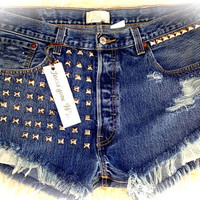 High waist destroyed denim shorts super frayed with and super studded size 38