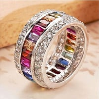 Size 6 7 8 9 10 10.7CT Woman Multicolor Gemstone Delicate Princess Bride S925 Sterling Silver Wedding Engagement Ring [8833447756]