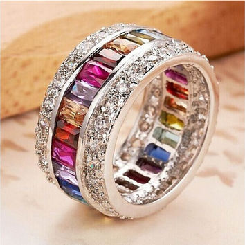 9.6ct Size 6-10 amazing Princess 925 silver cut Ruby Emerald Sapphire & Topaz Multicolor Gemstone Engagement Ring