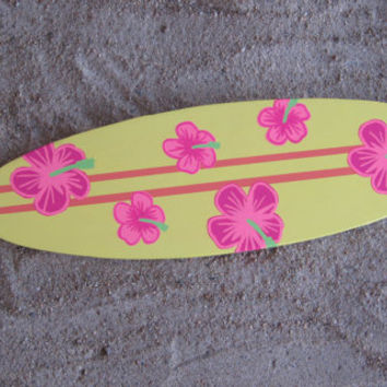 Surfboard Wall Decor with Hand-painted Hibiscus Flowers made from Reclaimed Wood Beach Nautical Ocean Wall Art Beach-Themed Decor