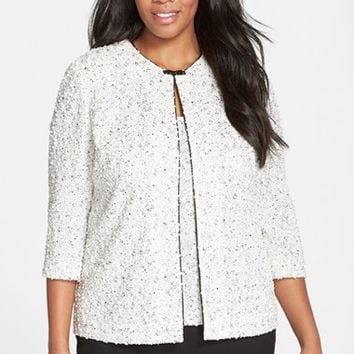 Plus Size Women's Alex Evenings Jacquard Knit Twinset with Beaded Clasp,