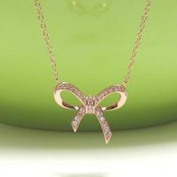 "ADORABLE INFINITY BOW Necklace In Rose Gold Over Sterling Silver-16""+2 Extender"