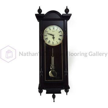 Bedford Clock Collection Grand 31 Antique Mahogany Cherry Oak Chiming Wall Clock with Roman Numerals