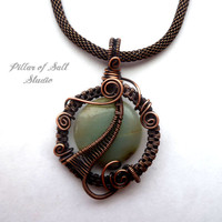 Wire Wrapped pendant, Amazonite gemstone, copper jewelry, wire wrapped jewelry handmade, woven wire jewelry, pendant necklace