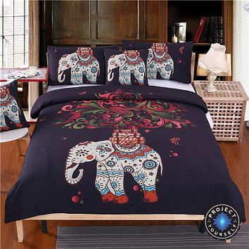 Boho Elephant Tree of Life Printed Black Bedding Set