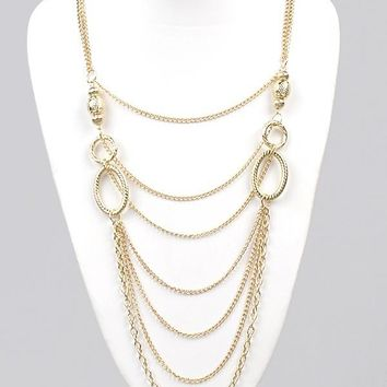 Long Interlocked Multi-Strand Chain Necklace