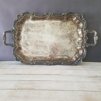 Towle Silver Tray/ Vintage Ornate Silver Plate Rectangle Serving Tray/ Large Butler Tray/ Antique Silver Tray/ Tea Tray/ Large Serving Tray