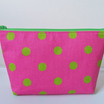 Hot Pink Lime Green Polka Dot Monogram Waterproof Lining Zippered Cosmetic Make Up Bag/Pouch/Accessory/Gadgets/Bridesmaid Gift