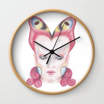 Peacock Butterfly Girl Wall Clock by drawingsbylam