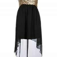 Black Strapless Sequin Mixi Dress | Dresses | Desire