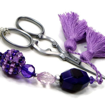 Scissor Fob, Cross Stitch, Needlepoint ,Sewing, Quilting, Gift, Purple, Orchid Beaded, DIY Crafts