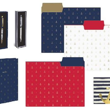 Gold Anchors Journal, File Folder Set, Pocket Notes, and Pens in Navy Blue Gift Set