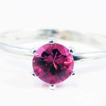 Sapphire Pink Solitaire Sterling Silver Ring
