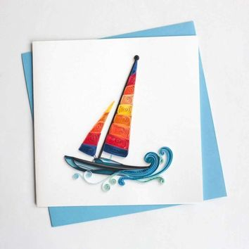 Colorful Sailboat Quilled Cards, Set of 6
