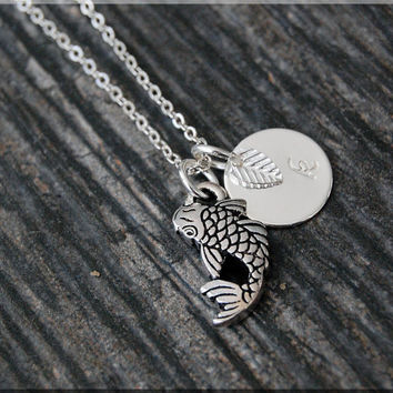 Silver Koi Fish Charm Necklace, Initial Charm Necklace, Personalized, Lucky Charm, Koi Fish Pendant, Fish Jewelry, Koi charm
