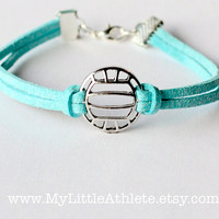 Volleyball Bracelet - Light Blue Faux Sued Charm Bracelet - Volleyball Team Gifts