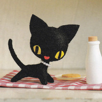 Retro Kawaii Style Miniature Rune Black Cat Kitten Animal Mascot Plush Stuffed Toy pdf E PATTERN in Japanese & Pieces Titles in English