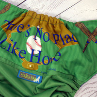No Place Like Home...Base, PK (Kelly Green outer, two-toned snaps- Kelly Green caps/Royal Blue pieces) Wrap Around, OS Pocket DiaperInstock and ready to ship
