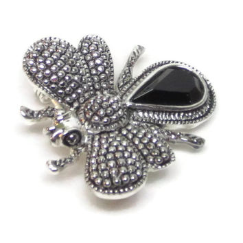 Vintage Bee Brooch Silver Bee Pin Signed Roman Silver Black Onyx