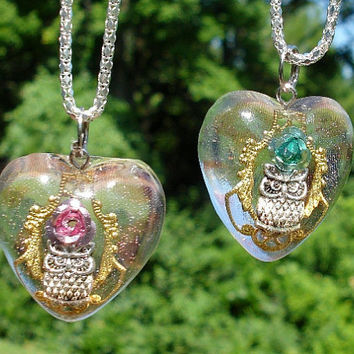 Owl Filigree Rose Resin Heart Silver Necklace Pink or Teal
