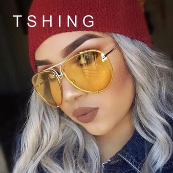 TSHING Fashion Oversized Sunglasses Women Men Brand Designer O Size Clear Ocean Gradient Glasses For Ladies