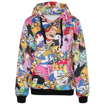 3D Adventure Time Hoodie For Ladies