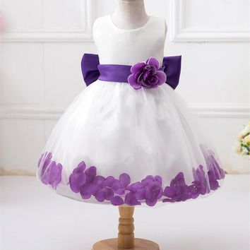 Princess Baby Girls Dress Brand Summer Style Floral Kids Wedding Party Tutu Costume Petal Lace Cosplay Flower Vestido Infantil