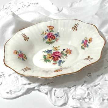 Rosina Bone China Trinket Dish  Multi Flower Bouquet Ruffled Gilded Candy Nut Dish Pink Rose Yellow Blue Flowers English China Vintage 1950s
