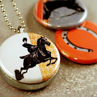 Horse Locket Necklace - Eco Friendly - Polarity Magnetic and Recycled Locket Set