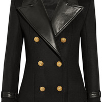 Balmain - Leather-trimmed wool and cashmere-blend jacket