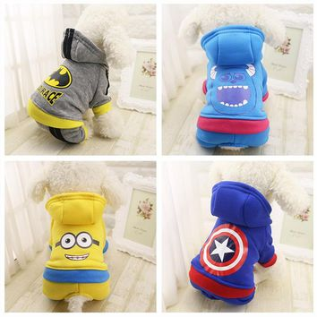 OB Warm Pet Dog Hoodie Captain America Batman Minions