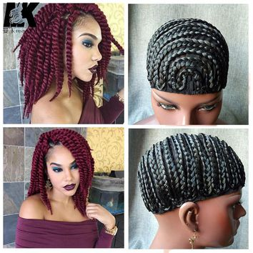2pcs Braid Synthetic Wig Cap With Adjustable Strap Crochet Braid Cap Cornrow cap