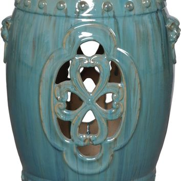 Clover Window Stool With Lion's Head Handles In Antique Blue/Green