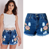 LIENZY 3D embroidery Flower Ripped Shorts Women Jeans tassel High Waist Spring Denim Shorts Casual Pants